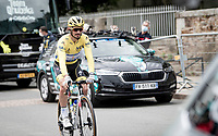 World Champion Julian Alaphilippe (FRA/Deceuninck - QuickStep) not starting in the rainbow jersey for once , but in the yellow jersey as the current GC leader.<br /> <br /> Stage 2 from Perros-Guirec to Mûr-de-Bretagne, Guerlédan (184km)<br /> 108th Tour de France 2021 (2.UWT)<br /> <br /> ©kramon