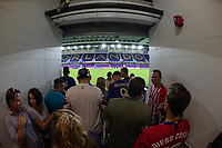 Orlando, FL - Wednesday July 31, 2019: Fans wait at entrance during the weather delay prior to the Major League Soccer (MLS) All-Star match between the MLS All-Stars and Atletico Madrid at Exploria Stadium.