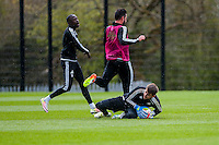 Wednesday  27 April 2016<br /> <br /> Pictured: Lukasz Fabianski of Swansea City  makes a save during training <br /> Re: Swansea City Training Session at the Fairwood Ground, Swansea, Wales, UK