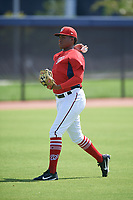 GCL Nationals Wilson Severino (38) during warmups before a Gulf Coast League game against the GCL Astros on August 9, 2019 at FITTEAM Ballpark of the Palm Beaches training complex in Palm Beach, Florida.  GCL Nationals defeated the GCL Astros 8-2.  (Mike Janes/Four Seam Images)