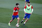 Spain's Isco Alarcon (l) and Alvaro Morata during training session. March 20,2017.(ALTERPHOTOS/Acero)