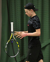Rotterdam, The Netherlands, March 20, 2016,  TV Victoria, NOJK 14/18 years, Jesper de Jong  (NED) throws  his racket<br /> Photo: Tennisimages/Henk Koster