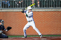 Hunter Jones (33) of the Charlotte 49ers at bat against the Xavier Musketeers at Hayes Stadium on March 3, 2017 in Charlotte, North Carolina.  The 49ers defeated the Musketeers 2-1.  (Brian Westerholt/Four Seam Images)