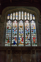 UK, England, Ewelme.  St. Mary the Virgin Church, 15th century, with  19th Century Window by Clayton & Bell Showing the Crucifixion.
