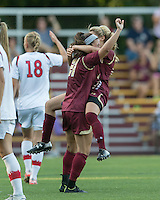 Newton, Massachusetts - September 6, 2015: NCAA Division I. In overtime, St John's University (white) defeated Boston College (maroon), 2-1, at Newton Campus Soccer Field.<br /> Celebrating a goal.