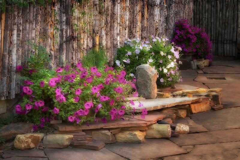 Rock flower garden off Canyon Road. Santa Fe, New Mexico