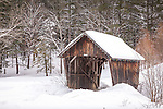 A tiny covered bridge in Barnard, VT, USA