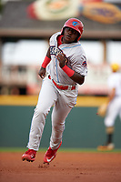 Clearwater Threshers left fielder Cornelius Randolph (2) running the bases during a game against the Bradenton Marauders on April 18, 2017 at LECOM Park in Bradenton, Florida.  Clearwater defeated Bradenton 4-2.  (Mike Janes/Four Seam Images)