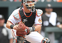 Catcher Jake Fox #9 of the Baltimore Orioles during a MLB game against the Chicago White Sox at Camden Yards, on August 8 2010, in Baltimore, Maryland. Orioles won 4-3.