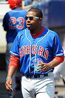 Auburn Doubledays catcher Andruth Ramirez (6) during game against the Staten Island Yankees at Richmond County Bank Ballpark at St.George on August 2, 2012 in Staten Island, NY.  Auburn defeated Staten Island 11-3.  Tomasso DeRosa/Four Seam Images