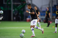 LAKE BUENA VISTA, FL - AUGUST 11: Santiago Patino #29 of Orlando City SC dribbles the ball before a game between Orlando City SC and Portland Timbers at ESPN Wide World of Sports on August 11, 2020 in Lake Buena Vista, Florida.