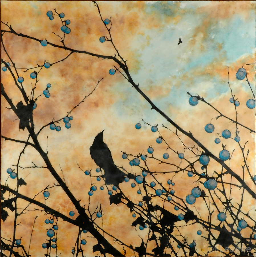 Encaustic painting with photography of birds in sunset sky in blue and orange.