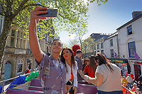 Pictured: Shaheen Jafargholi (L) takes a selfie. Saturday 04 May 2019<br /> Re: Swansea Pride Parade in south Wales, UK.