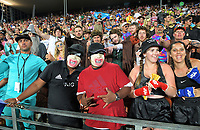 Fans watch the NZ v France men's cup final. Day two of the 2020 HSBC World Sevens Series Hamilton at FMG Stadium in Hamilton, New Zealand on Sunday, 26 January 2020. Photo: Dave Lintott / lintottphoto.co.nz