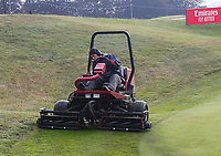 3rd July 2021; Mount Juliet Golf Club, Kilkenny, Ireland; Dubai Duty Free Irish Open Golf, Day Three; The green keepers at work before start of play