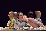 Interprètes....Nathalie Pernette / association NA..Le Repas Coproduction CND..Jeudi 8 au samedi 10 novembre 2007 à 20h30....Pour Nathalie Pernette, le repas de famille est l'occasion d'une exploration des sensations et des relations intimes. Du point de vue des corps, ce travail repose sur une approche des situations, des postures et des gestes quotidiens auxquels elle donne cependant une toute autre amplitude. Car ce qui intéresse la chorégraphe à travers ce sujet, c'est de pouvoir traverser les frontières, entrer dans l'espace invisible des communications souterraines, du non-dit, des émotions et des sensations contradictoires : la pesanteur et la légèreté, le désir et l'ennui, la colère et la joie. En d'autres termes tout ce qui affecte nos comportements les plus anodins. De quoi réveiller l'imaginaire, créer des images, saturer ou vider l'espace, entre manipulation d'objets et modification de textures. Échafauder des cathédrales de sucre, faire résonner la vaisselle entrechoquée telle une partition musicale, esquisser des parcours balisés par des miettes de pain, sont autant de chemins qui progressent vers la fantasmagorie et les corps hybrides. Dans Le Repas, autour d'une table dressée mais jamais servie, sans aliments donc, chaises, bancs et tapis constituent les éléments d'une architecture vivante qui se recompose au fil des séquences et des climats musicaux. Alternent pièces pour clavecin du répertoire baroque et partition sonore aux empreintes bruitistes.....Interprété par Magali Albespy, Arnaud Cabias, Raphaël Dupin, Laurent Falguiéras, Sébastien Laurent, Pauline Simon. Isabelle Ramona (clavecin).....Laurent Paillier / photosdedanse.com..All rights reserved