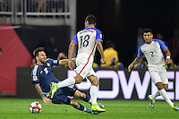 Houston, TX - Tuesday June 21, 2016: Chris Wondolowski, Lionel Messi during a Copa America Centenario semifinal match between United States (USA) and Argentina (ARG) at NRG Stadium.