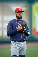 Binghamton Rumble Ponies catcher Ali Sanchez (20) during warmups before an Eastern League game against the Richmond Flying Squirrels on May 29, 2019 at The Diamond in Richmond, Virginia.  Binghamton defeated Richmond 9-5 in ten innings.  (Mike Janes/Four Seam Images)