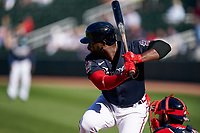 Atlanta Braves Abraham Almonte (34) bats during a Major League Spring Training game against the Boston Red Sox on March 7, 2021 at CoolToday Park in North Port, Florida.  (Mike Janes/Four Seam Images)