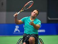 Rotterdam, Netherlands, December 18, 2015,  Topsport Centrum, Lotto NK Tennis, Wheelchair semifinal : Tom Egberink (NED)<br /> Photo: Tennisimages/Henk Koster