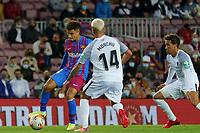 20th September 2021; Nou Camp, Barcelona, Spain; La Liga football league;  FC Barcelona versus Granada;   Coutinho of Barca takes on Monchu