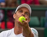 London, England, 2 July, 2016, Tennis, Wimbledon, Sam Querrey (USA) serves the ball during his match against Novak Djokovic (SRB)<br /> Photo: Henk Koster/tennisimages.com