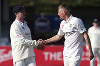 Brydon Carse of Durham (R) celebrates taking the wicket of Sam Cook during Essex CCC vs Durham CCC, LV Insurance County Championship Group 1 Cricket at The Cloudfm County Ground on 17th April 2021