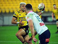 Hurricanes' Jonathan Taumateine in axction during the Super Rugby Tran-Tasman match between the Hurricanes and Rebels at Sky Stadium in Wellington, New Zealand on Friday, 21 May 2020. Photo: Dave Lintott / lintottphoto.co.nz