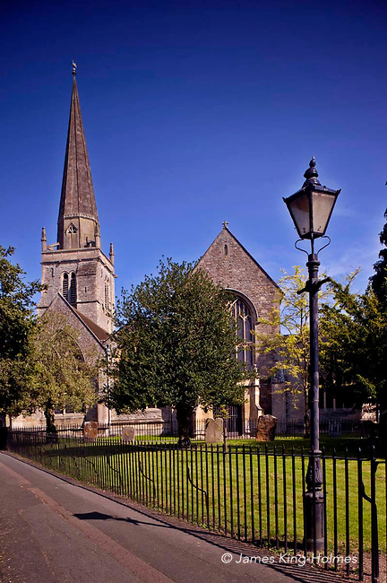 The parish church  of St. Helen's, Abingdon, Oxfordshire, UK. This medieval church has remains dating to the 12th & 13th centuries. The spire of the church is a landmark in the town.