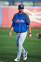 Midland RockHounds pitching coach John Wasdin (31) walks to the dugout from the bullpen before a game against the Tulsa Drillers on June 2, 2015 at Oneok Field in Tulsa, Oklahoma.  Midland defeated Tulsa 6-5.  (Mike Janes/Four Seam Images)