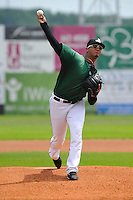 Jose Flores #28 of the Clinton LumberKings throws against the Kane County Cougars at Ashford University Field on July 6, 2014 in Clinton, Iowa. The LumberKings won 1-0.   (Dennis Hubbard/Four Seam Images)