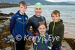 Fiona Brosnan from Tralee with her family after her swim from Derrymore to Fenit on Saturday morning. L to r: Oisin, Fiona, Aoibhinn and Fionnan Brosnan