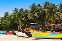 Colorful boats on the white sands of the famous Palolem beach, with beautiful bungalows under palm trees, Arabian sea, Goa India