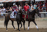 August 07, 2021: Silver State #2, ridden by jockey Ricardo Santana Jr. in the post parade before the Grade 1 Whitney Stakes at Saratoga Race Course in Saratoga Springs, N.Y. on August 7, 2021. Robert Simmons/Eclipse Sportswire/CSM