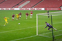 3rd October 2020; Riverside Stadium, Middlesbrough, Cleveland, England; English Football League Championship Football, Middlesbrough versus Barnsley; Cauley Woodrow of Barnsley FC scores a penalty past keeper Collins of Barnsley to make final score 2-1 to Middlesbrough