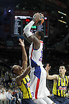 Fenerbahce Ulker Istambul's Andrew Goudelock (l) and Nikos Zisis (r) and CSKA Moscow's Sonny Weems during Euroleague Third Place Game. May 15,2015. (ALTERPHOTOS/Acero)
