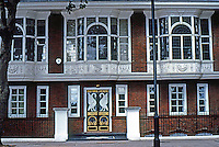 """London: Chelsea, Swan House--R. Norman Shaw, 1876. 17 Chelsea Embankment. """"The finest Queen Anne Revival domestic building in London."""""""