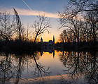 March 22, 2021; Sunrise over St. Mary's Lake. (Photo by Barbara Johnston/University of Notre Dame)