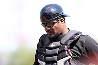 Norfolk Tides catcher Michel Hernandez #41 during a game against the Rochester Red Wings at Frontier Field on June 5, 2011 in Rochester, New York.  Norfolk defeated Rochester 11-5 in eleven innings.  Photo By Mike Janes/Four Seam Images