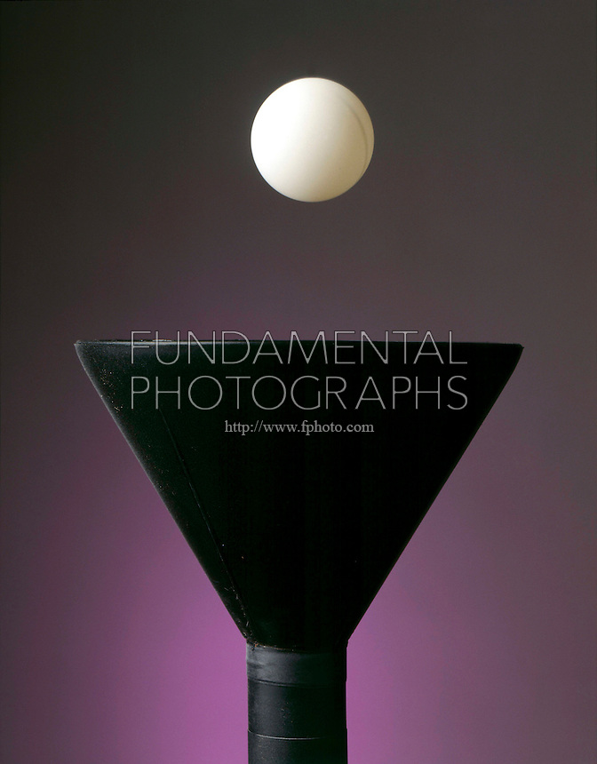 BERNOULLI EFFECT: BALL BALANCED IN COLUMN OF AIR<br /> (Variations Available)<br /> Ping-Pong ball balanced on a stream of air.