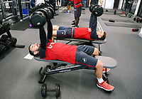(L-R) Leon Britton and Tom Carroll exercise in the gym during the Swansea City Training at The Fairwood Training Ground, Swansea, Wales, UK. Wednesday 27 September 2017