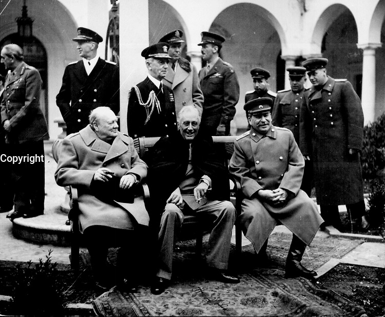 The Yalta Conference, sometimes called the Crimea Conference and codenamed the Argonaut Conference, was the wartime meeting from 4 February 1945 to 11 February 1945 between the heads of government of the United States, the United Kingdom, and the Soviet UnionóPresident Franklin D. Roosevelt (M) , Prime Minister Winston Churchill (L), and Premier of the Soviet Union Joseph Stalin (R), respectively.