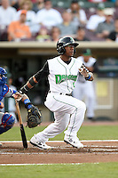 Dayton Dragons designated hitter Shed Long (5) during a game against the South Bend Cubs on May 11, 2016 at Fifth Third Field in Dayton, Ohio.  South Bend defeated Dayton 2-0.  (Mike Janes/Four Seam Images)
