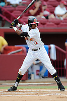 Catcher Jose Cuas (12) of the Maryland Terrapins in an NCAA Division I Baseball Regional Tournament game against the Old Dominion Monarchs on Friday, May 30, 2014, at Carolina Stadium in Columbia, South Carolina. Cuas was named to the tournament's All-Regional Team. Maryland won, 4-3. (Tom Priddy/Four Seam Images)
