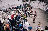 Jempy Drucker (LUX/BMC) up the gravel roads of the Colle delle Finestre <br /> <br /> stage 19: Venaria Reale - Bardonecchia (184km)<br /> 101th Giro d'Italia 2018