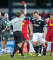 Raith's Allan Walker gets a straight red from Referee Crawford Allan after a two footed tackle ...