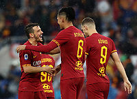 Football, Serie A: AS Roma - Brescia FC, Olympic stadium, Rome, November 24, 2019. <br /> Roma's Chris Smalling (c) celebrates after scoring with his teammates during the Italian Serie A football match between Roma and Brescia at Olympic stadium in Rome, on November 24, 2019. <br /> UPDATE IMAGES PRESS/Isabella Bonotto