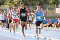 """MEDELLÍN -COLOMBIA-25-05-2013. El atleta venezolano Alexis Peña (215) ganó la prueba de los 1500 mts. planos y  en segundo lugar llegó Rafith Rodríguez (23) de Colombia durante el Grand Prix Internacional """"Ximena Restrepo"""" realizado en Medellín. / Athlete Alexis Peña (215) from Venezuela won the 1500 flat meters and the second place was to  Rafith Rodríguez (23) from Colombia during the  Grand Prix Internacional """"Ximena Restrepo"""" in Medellin.  Photo: VizzorImage/STR"""