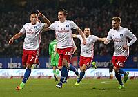 12.03.2017, Football 1. Bundesliga 2016/2017, 24. Match Day, Hamburger SV - Borussia Moenchengladbach, am Volksparkstadion Hamburg. Bobby Wood (Hamburg) , Michael Gregoritsch (Hamburg) , Kyriakos Papadopoulos (Hamburg) and Aaron Hunt (Hamburg) celebrates scoring to 2:1 .<br /> <br /> +++ NED + SUI out !!! +++
