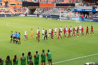 HOUSTON, TX - JUNE 10: The United States and Portugal National Teams enter the pitch before a game between Portugal and USWNT at BBVA Stadium on June 10, 2021 in Houston, Texas.
